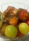 紅茶ミニトマト寒天、ハチミツ、アイス添え