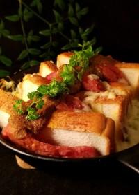 オーブンで!パンとスパムのマヨカレー焼き