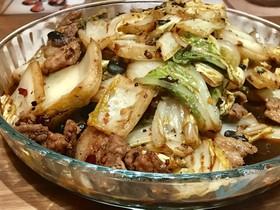 白菜と豚バラ肉の豆豉炒め