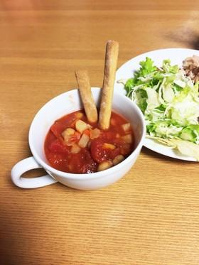 トマト缶で食べるスープ