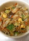 海老と野菜のあっさり塩麴炒め