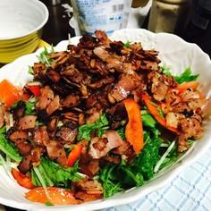 水菜サラダ カリカリベーコンのせ