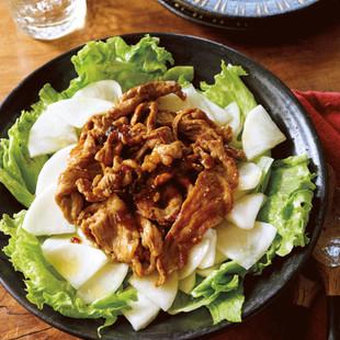 オイスター肉炒めの大根サラダ