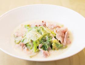 シントリ菜と豚バラ肉の重ね豆乳クリーム煮
