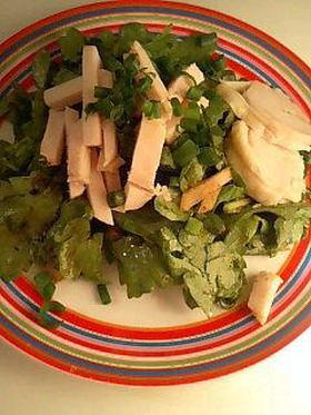 鶏ハムと春菊のビビンサラダ