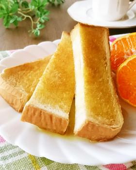 トーストにオリーブオイル+メープル+塩