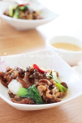 チンゲン菜と牛肉の中華あんかけご飯