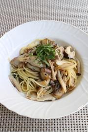 塩鯖ときのこの大葉風味スパゲッティの写真