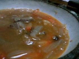 角切りお肉とトマトのスープ