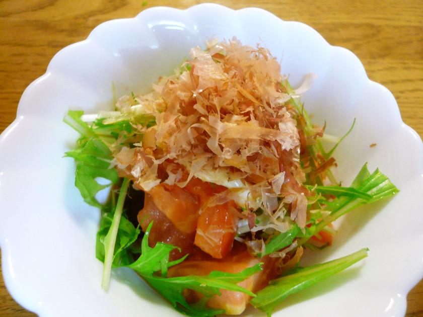 トマトと水菜のポン酢マヨサラダ