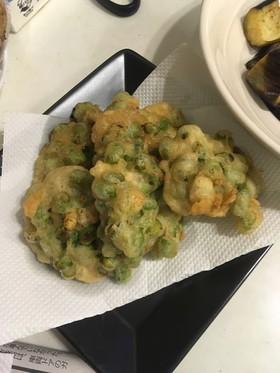 余った天ぷらのたねで枝豆のかき揚げ