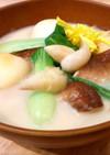 里芋とちんげん菜と椎茸のクリームスープ