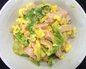 魚肉ソーセーシと白菜の卵とじ