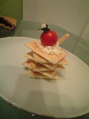ケーキ風チーズ&クラッカーの写真