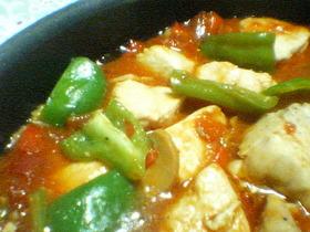 カゴメ鶏肉のトマト煮用ソースを使って ~