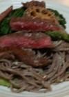 蕎麦パスタ肉のせ(血管ダイエット1185