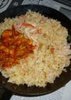 サーモン・オイルでパラパラ炒飯+鮭キムチ