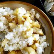 アウトドア飯 土鍋でほくほく栗ごはん♪の写真