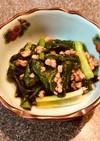 野沢菜とひき肉の炒め物