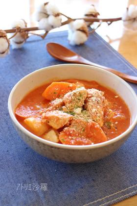 煮込むだけ♪鶏肉と根菜のトマト味噌煮込み
