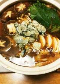 ピリ辛赤味噌の牡蠣鍋♪にんにくポカポカ〜