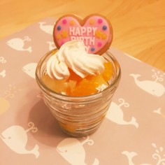 誕生日に、簡単スコップケーキ(卵なし)