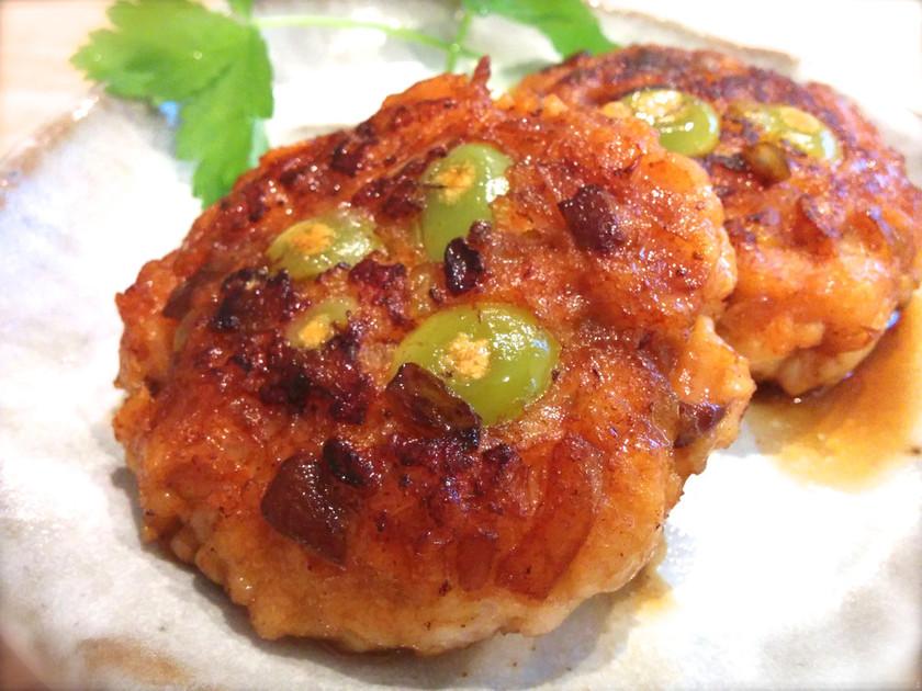 銀杏と玉ねぎと椎茸の甘辛薩摩揚げ