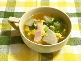 給食☆かぶと卵のスープ