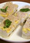 カニと錦糸卵と椎茸と焼き海苔の押し寿司