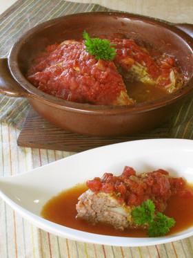 トマト味の白菜とミンチの重ね煮