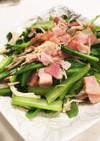 小松菜、ベーコンとえのきの洋風ソテー