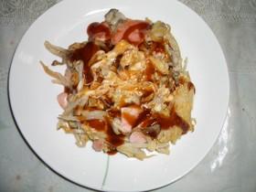 魚肉ソーセージのお好み焼き