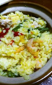 アウトドア飯 土鍋で簡単パエリア♪の写真