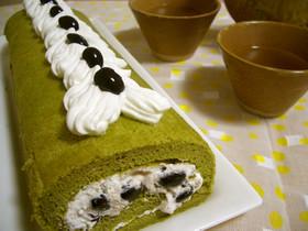 ふわふわ♪黒豆&抹茶のロールケーキ