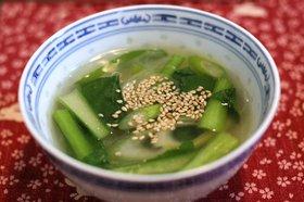 小松菜とねぎの春雨スープ
