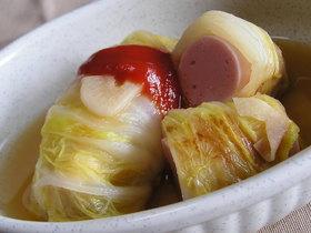 おさかなソーセージでロール白菜