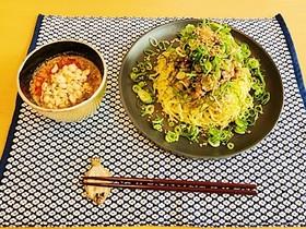 タケシゲ醤油の肉そば(瓦そば風)
