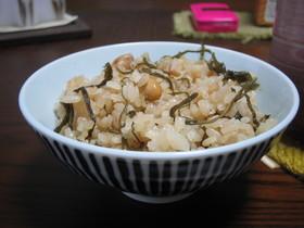 昆布と大豆の茶飯!らくちん!