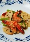 海老とレンコン小松菜のガーリック塩麹炒め