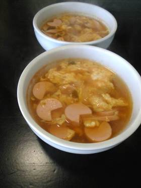 「おさかなのソーセージ」でスープ