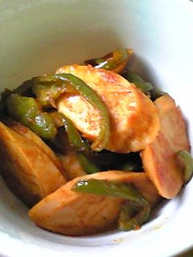 魚肉ソーセージのナポリタン風炒め