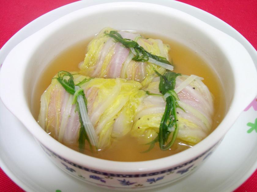 おもちとベーコンの白菜巻き★スープ