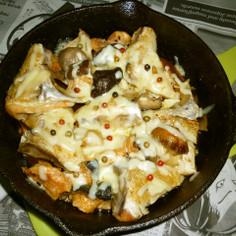 イシスキで銀鮭のアラ+きのこのチーズ焼き