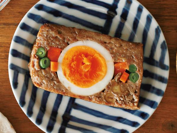 半熟卵の照り焼きミートローフ