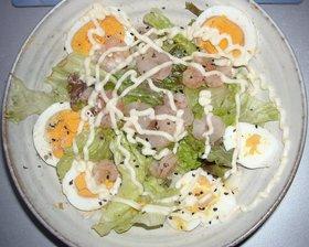 レタス&ゆで卵&小エビのサラダ