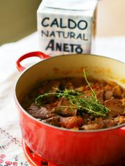 お魚スープde時短塩豚とレンズ豆の煮込みの写真