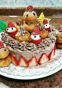 プチシューでにぎやかクリスマスケーキ☆