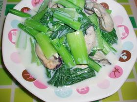 小松菜とカキの牛乳煮