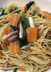 ツナと野菜のさっぱりポン酢マヨパスタ