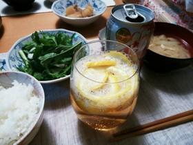 柚の発泡酒わり
